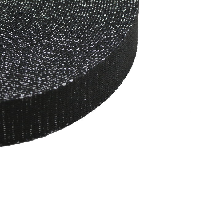 Webbing Lurex Black-Silver 30mm