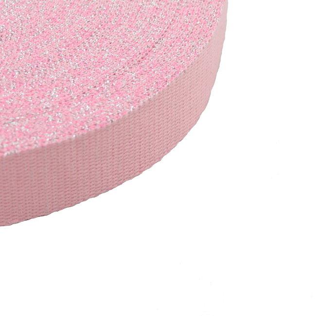 Tassenband Lurex Roze-Zilver 30mm