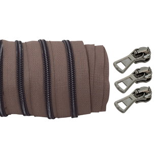 Coil zipper Taupe - Black nickel 100cm