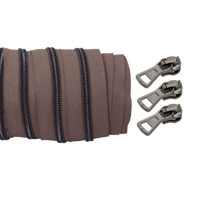 Spiraalrits Taupe - Zwart nikkel 100cm