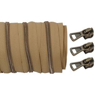 Coil zipper Camel - Shiny anti brass 100cm