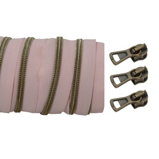 SO Coil zipper Blush - Shiny anti brass 100cm