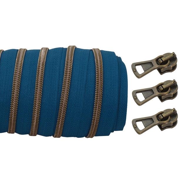 SO Coil zipper Petrol - Shiny anti brass 100cm