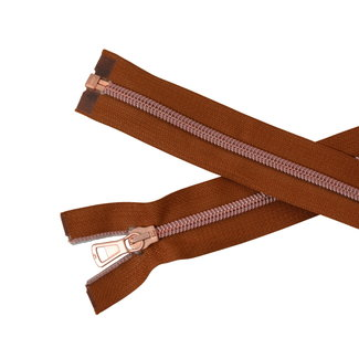 SO Separating coil zipper Light cognac - Rose gold