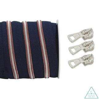 Coil zipper Marine Dark blue - Matt Silver 100cm