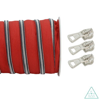 Spiraalrits Marine Rood - Mat zilver 100cm