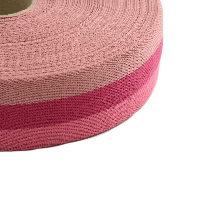 Tassenband Tricoloré Roze 40mm