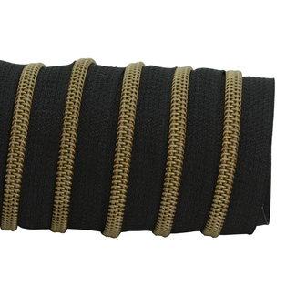 K-Bas Zipper tape Coil Black - Matt anti-brass