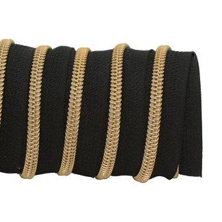 K-Bas Zipper tape Coil Black - Gold