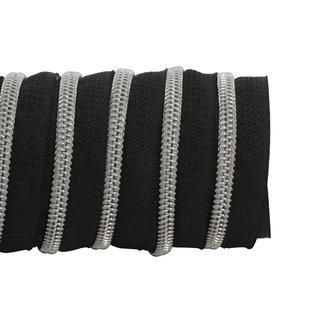 K-Bas Zipper tape Coil Black - Matt silver