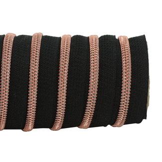 K-Bas Zipper tape Coil Black - Rose gold