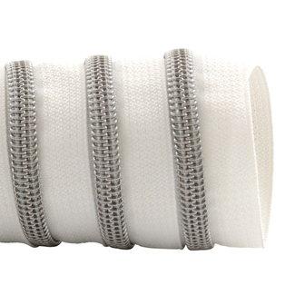 K-Bas Zipper tape Coil White - Matt silver