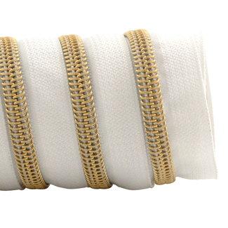 K-Bas Zipper tape Coil White - Gold