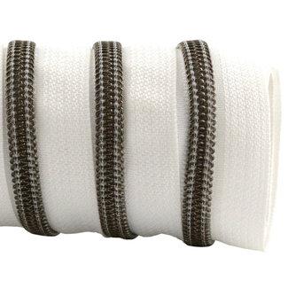 K-Bas Zipper tape Coil White - Black nickel