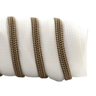 K-Bas Zipper tape Coil White - Matt anti-brass
