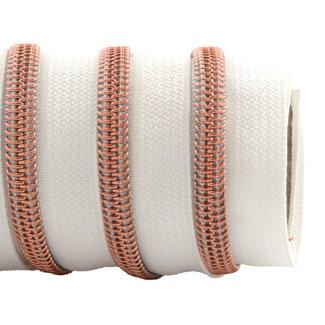 K-Bas Zipper tape Coil White - Rose gold