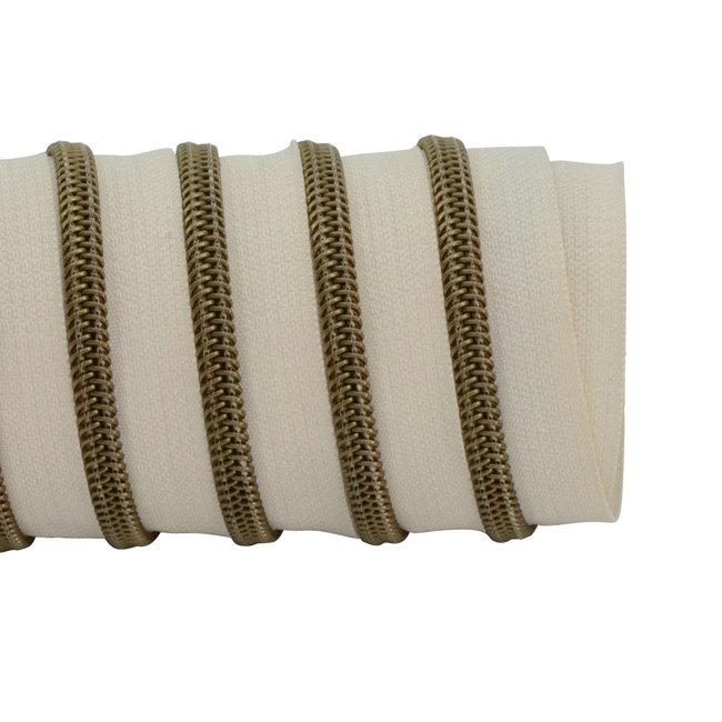 K-Bas Zipper tape Coil Off white - Matt anti-brass