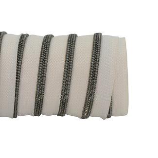 K-Bas Zipper tape Coil Off white - Black nickel