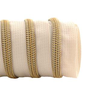 K-Bas Zipper tape Coil Off white - Gold