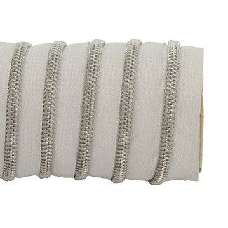 K-Bas Zipper tape Coil Off white - Matt silver