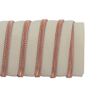 K-Bas Zipper tape Coil Off white - Rose gold
