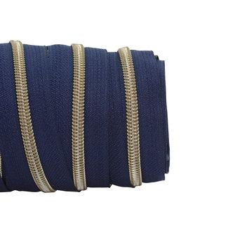 SO Zipper tape Coil Dark blue - Shiny anti-brass