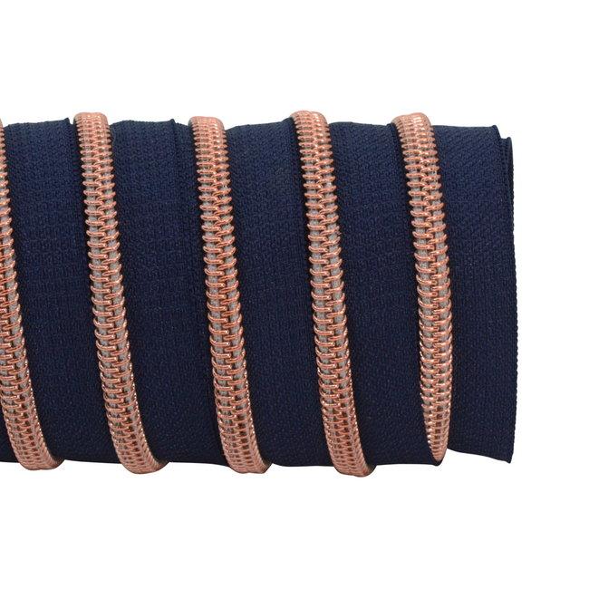 K-Bas Ritstape Spiraal Donkerblauw - Rosé Goud