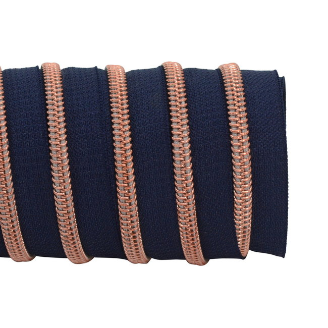 K-Bas Zipper tape Coil Dark blue - Rose gold