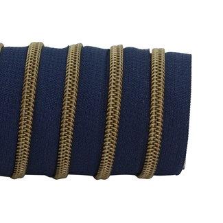 K-Bas Zipper tape Coil Dark blue - Matt anti-brass