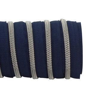 K-Bas Zipper tape Coil Dark blue - Matt silver