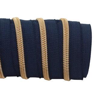 K-Bas Zipper tape Coil Dark blue - Gold