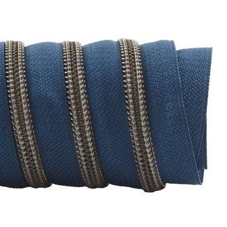 K-Bas Zipper tape Coil Stormy blue - Black nickel