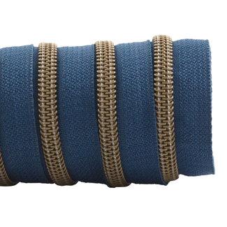 K-Bas Zipper tape Coil Stormy blue - Matt anti-brass