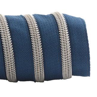 K-Bas Zipper tape Coil Stormy blue - Matt silver