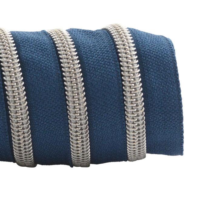 K-Bas Ritstape Spiraal Jeansblauw - Mat zilver