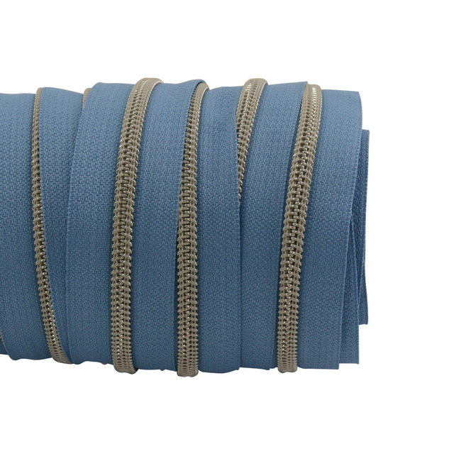SO Zipper tape Coil Sky blue - Matt silver