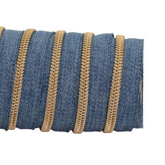 K-Bas Zipper tape Coil Denim Blue - Gold