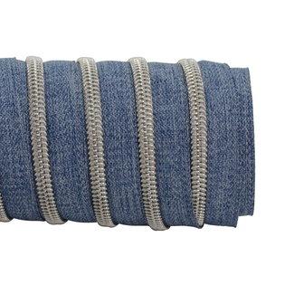 K-Bas Zipper tape Coil Denim Blue - Matt silver