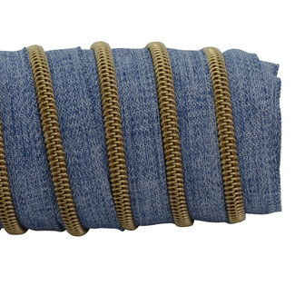 K-Bas Zipper tape Coil Denim Blue - Matt anti-brass