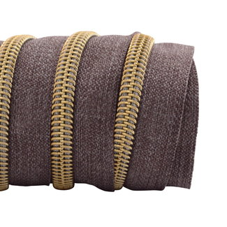 K-Bas Zipper tape Coil Denim Brown - Gold
