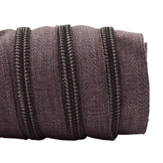K-Bas Zipper tape Coil Denim Brown - Black nickel