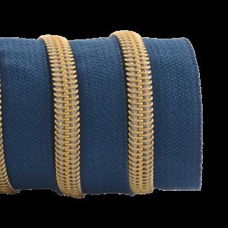 K-Bas Zipper tape Coil Stormy blue - Gold