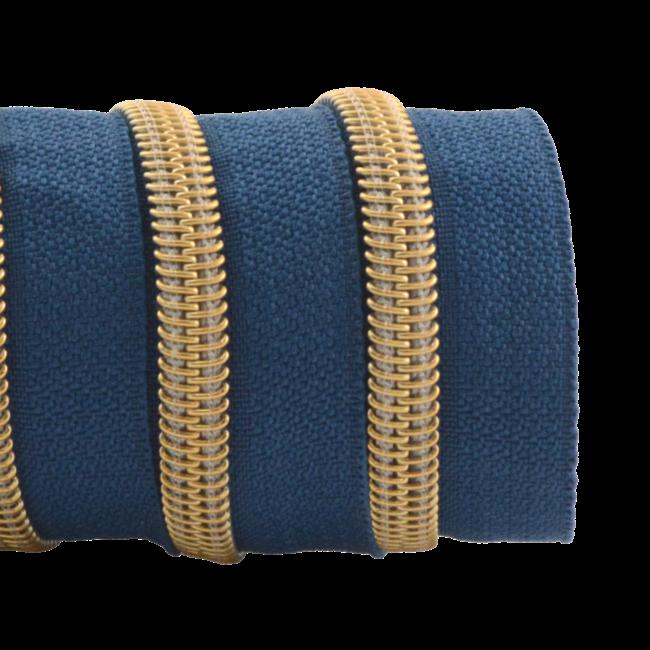 K-Bas Ritstape Spiraal Jeansblauw - Mat goud