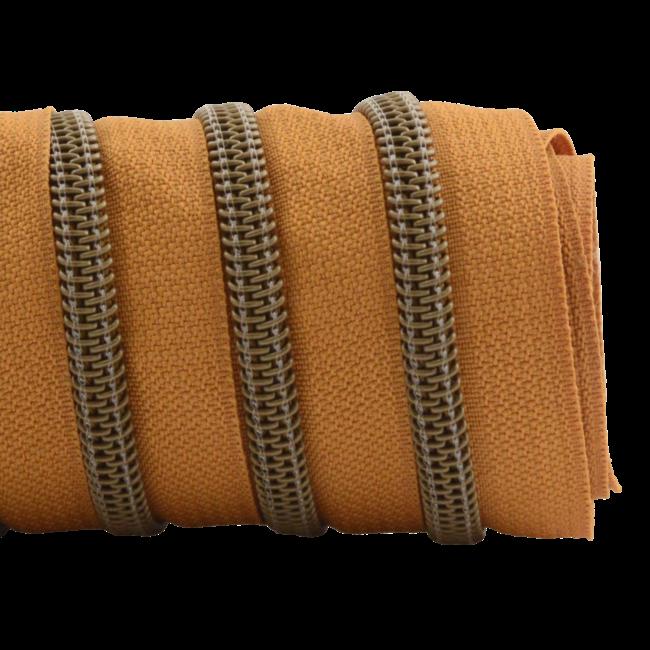 K-Bas Zipper tape Coil Burned Orange - Matt anti-brass