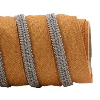 K-Bas Zipper tape Coil Burned Orange - Matt silver
