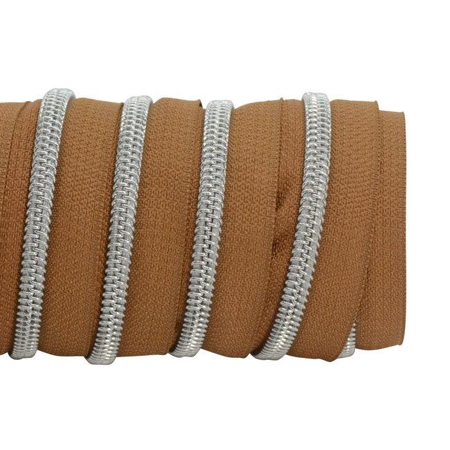 K-Bas Zipper tape Coil Dark cognac - Matt silver