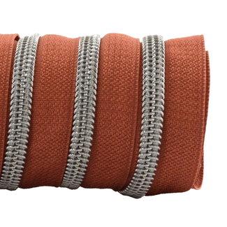 K-Bas Zipper tape Coil Terracotta - Matt silver