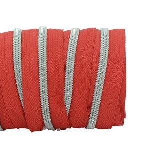 SO Zipper tape Coil Red - Matt silver