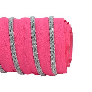 SO Zipper tape Coil Bright fuchsia - Matt silver