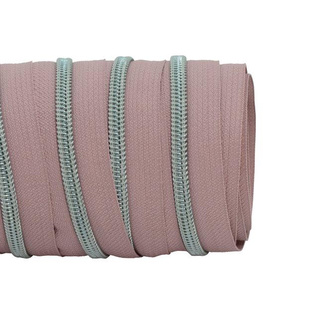 SO Zipper tape Coil Dusty pink - Matt silver